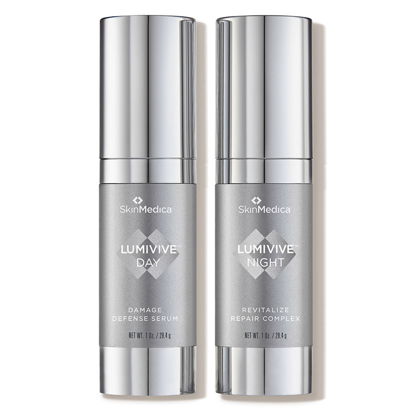 Bottles of SkinMedica Lumivive System